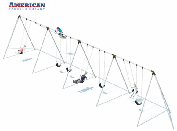 4 Bay 10' Tri-pod Swing Frame | Swing Sets | American Parks Company
