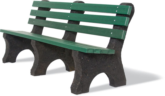 Standard Recycled Bench w/Back - Site Amenities - American Parks Company