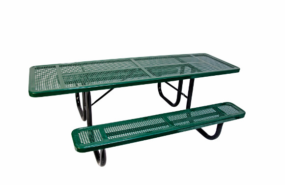 8' ADA Accessible Perforated Metal Picnic Table - Commercial Playground Equipment - Site Furnishings