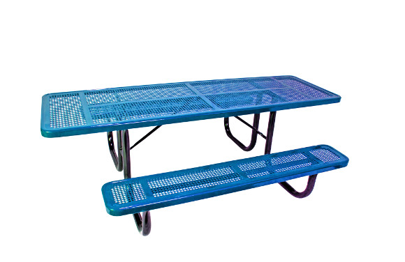 8' ADA Accessible Perforated Metal Double-Sided Picnic Table - Commercial Playground Equipment - Site Furnishings