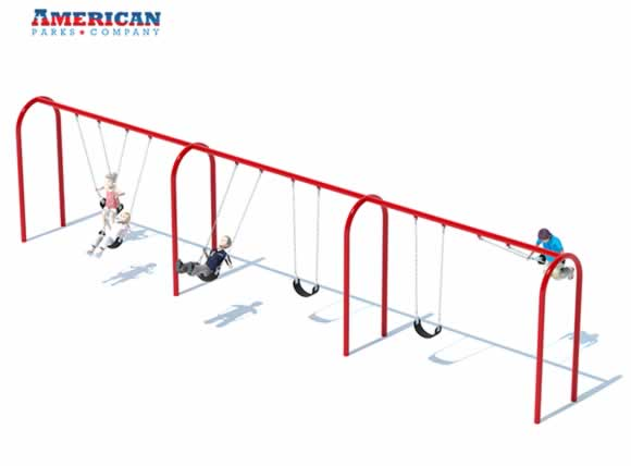 3 Bay Arch Swing Set | Commercial Playground Swings | American Parks Company