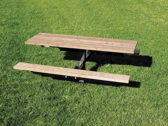 6' SINGLE PEDESTAL RECTANG. TABLE, INGROUND, PRESSURE TREATED