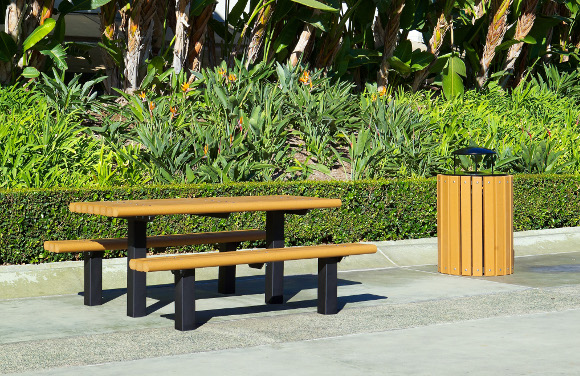 Commercial Playground Equipment - Rectangular Multi-Pedestal Recycled Picnic Table