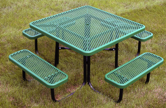 """Heavy Equipment Playground >> 46"""" Square Expanded Metal Picnic Table - Commercial Playground Equipment"""