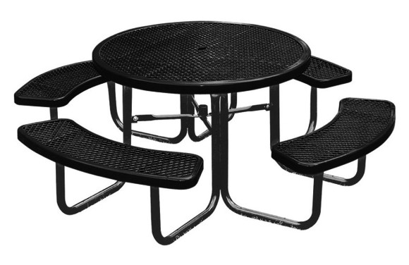 Round Expanded Metal Picnic Table Site Furnishings - Black metal picnic table