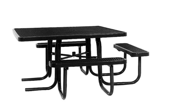 Square ADA Expanded Metal Picnic Table Commercial Playground - Black metal picnic table