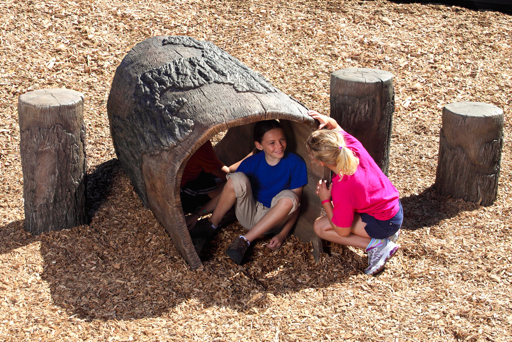 6' log tunnel - independent play structure - commercial playground equipment