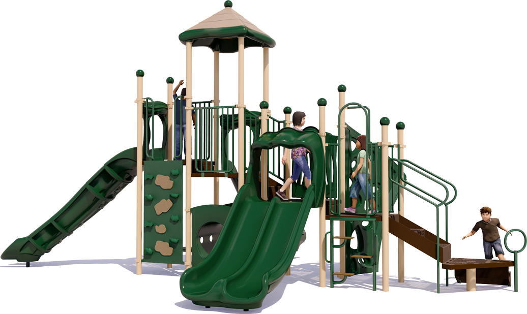 Playscape Playground Structure - Natural Color Scheme - Front View