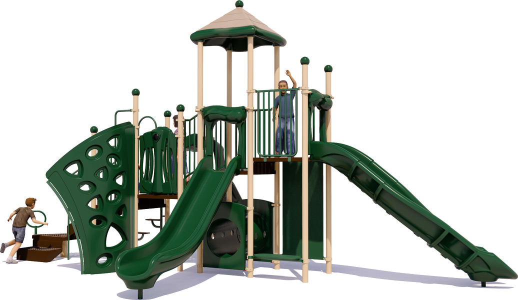 Playscape Playground Structure - Natural Color Scheme - Rear View