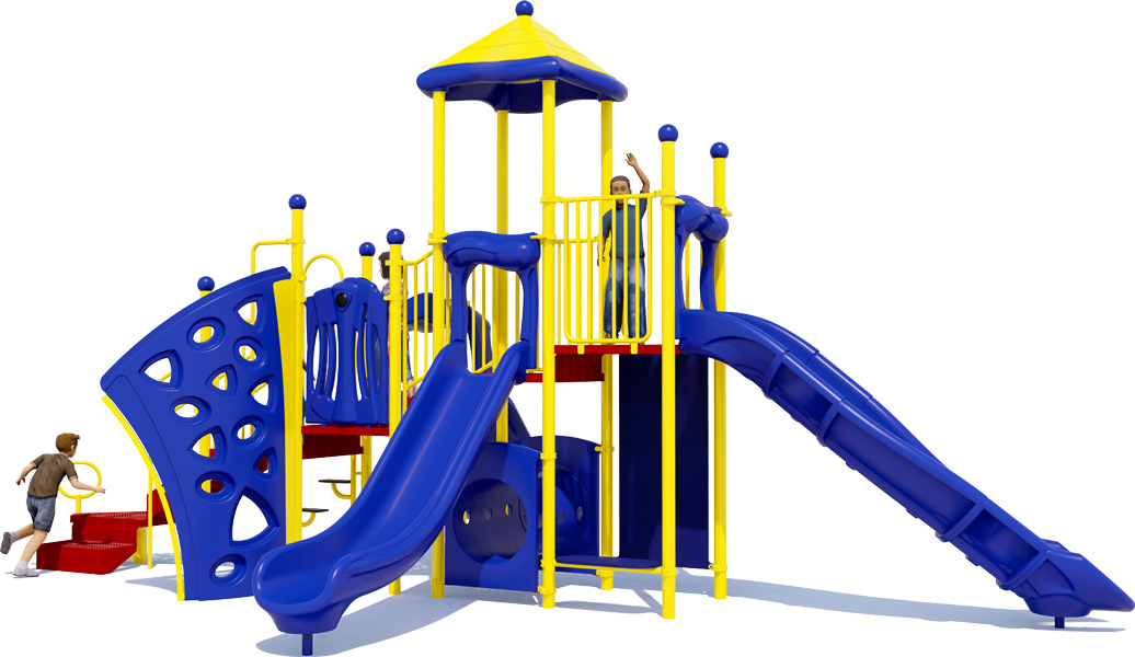 Playscape Playground Structure - Primary Color Scheme - Rear View