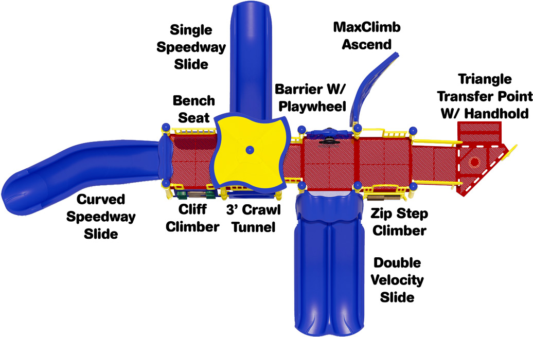 Playscape Playground Structure - Primary Color Scheme - Top View