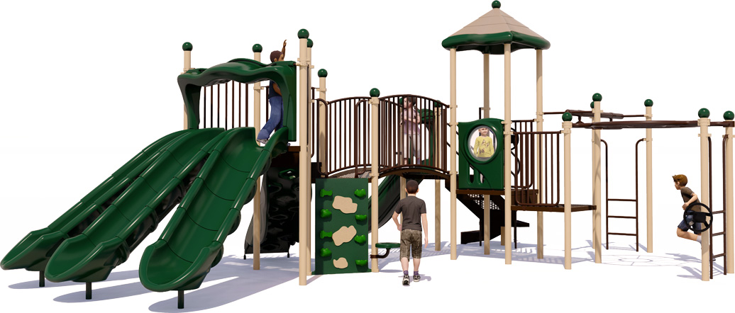 Martha's Vineyard Commercial Play Structure - Natural Color Scheme - Front View