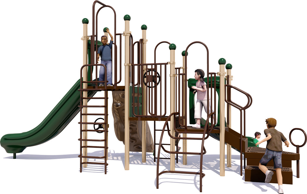 Double Dutch Commercial Play Structure - Natural Color Scheme - Back View