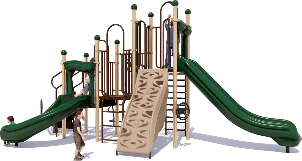 Double Dutch Commercial Play Structure - Natural Color Scheme - Front View