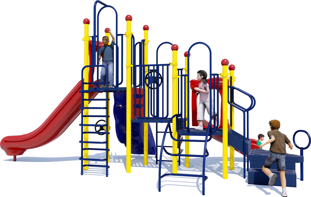 Double Dutch Commercial Play Structure - Primary Color Scheme - Back View