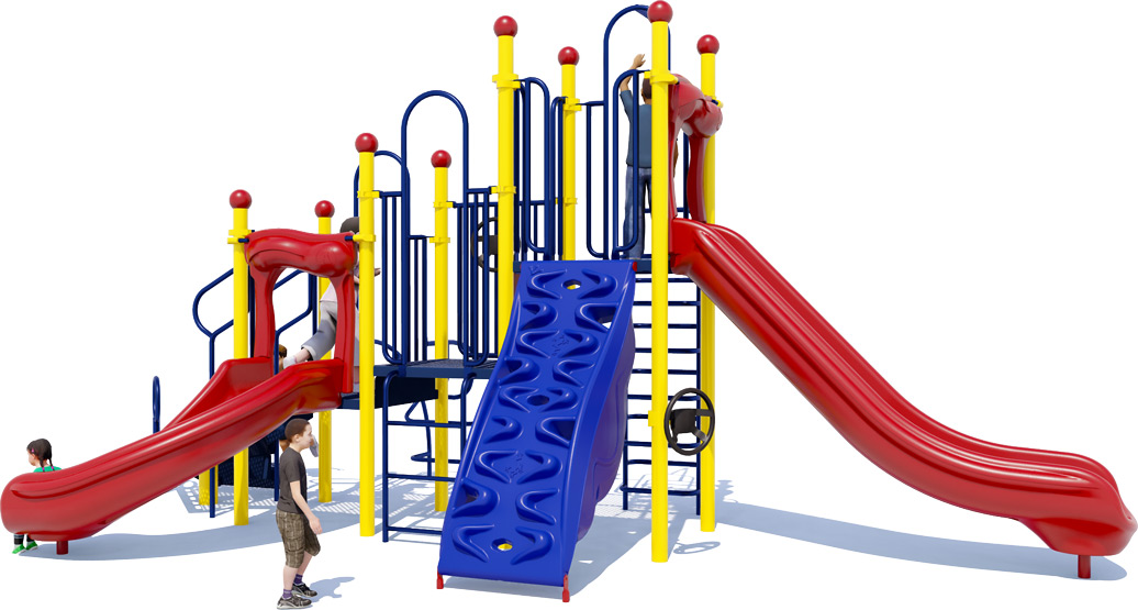 Double Dutch Commercial Play Structure - Primary Color Scheme - Front View