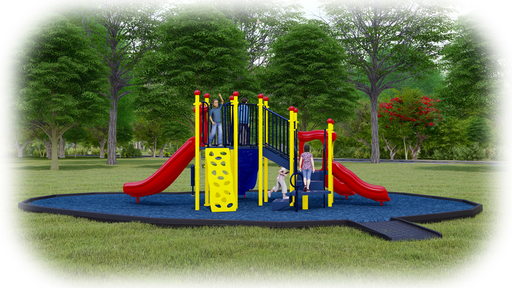 Simon Says Playground Bundle - Primary Colors - Rubber Mulch