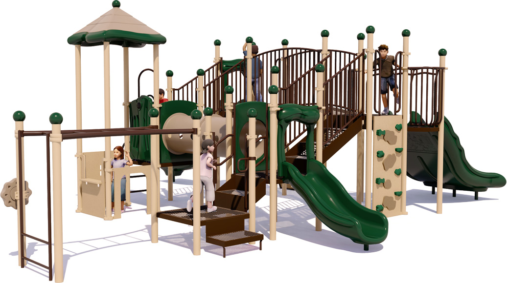 Fort Fun - Commercial Play Structure - Natural Color Scheme - Back View
