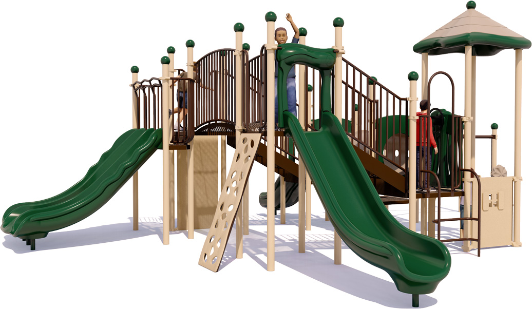 Fort Fun - Commercial Play Structure - Natural Color Scheme - Front View