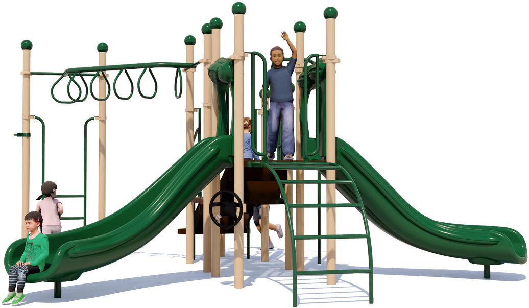 Jungle Jam Play Structure - Natural Colors - Front View
