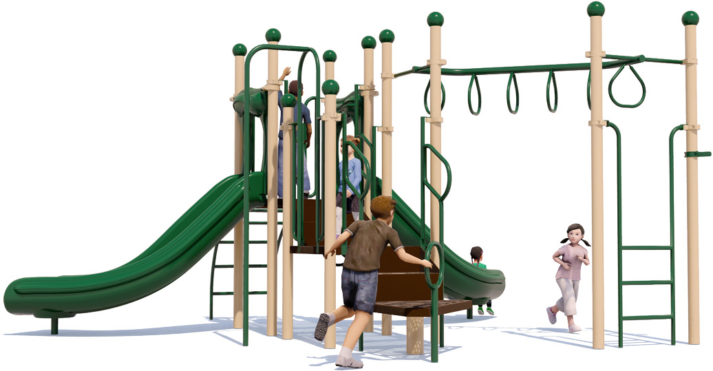 Jungle Jam Play Structure - Natural Colors - Rear View