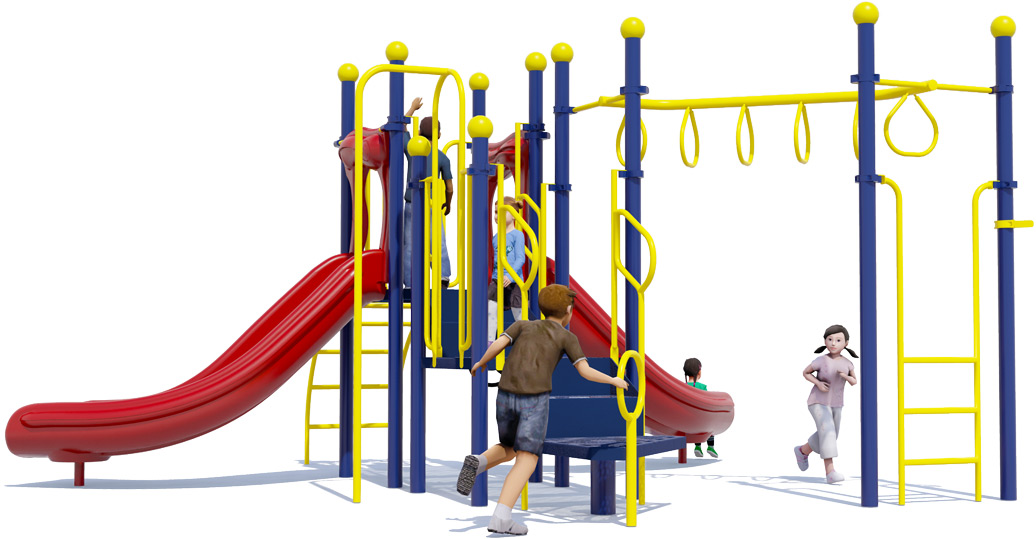Jungle Jam Play Structure - Primary Colors - Rear View