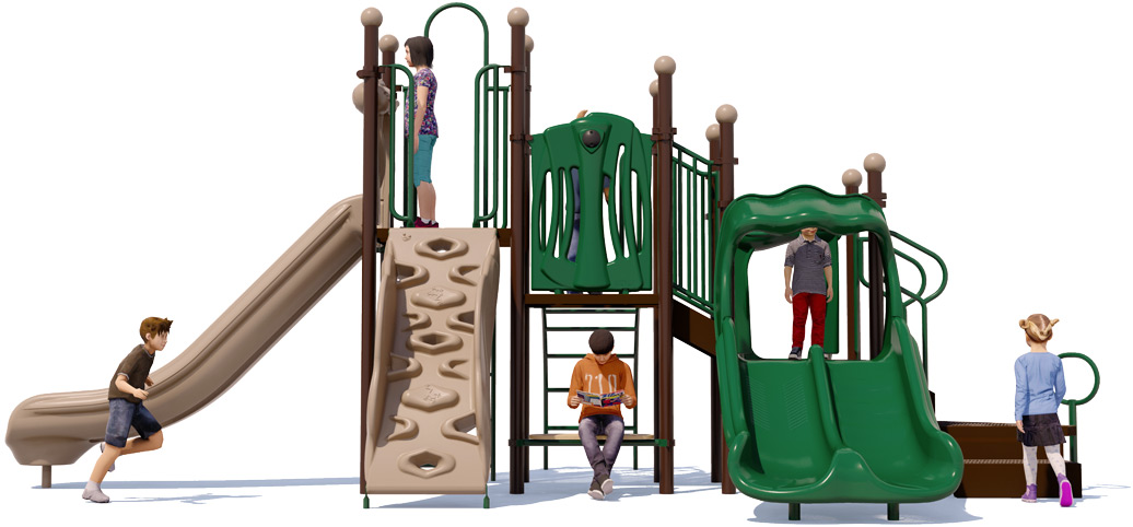 Bullseye Playground Structure - Front View - Natural | American Parks Company