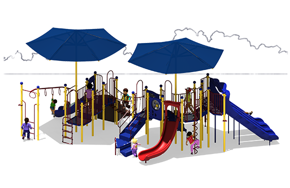 Super Shade - Commercial Play Structure - Primary Color Scheme - Front View
