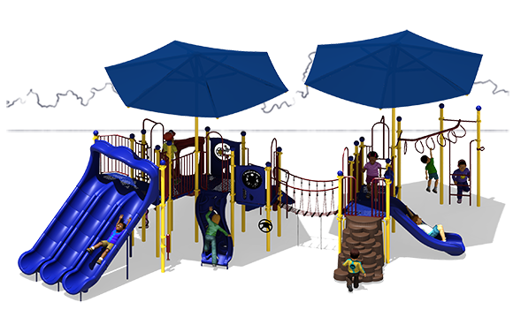 Super Shade - Commercial Play Structure - Primary Color Scheme - Back View