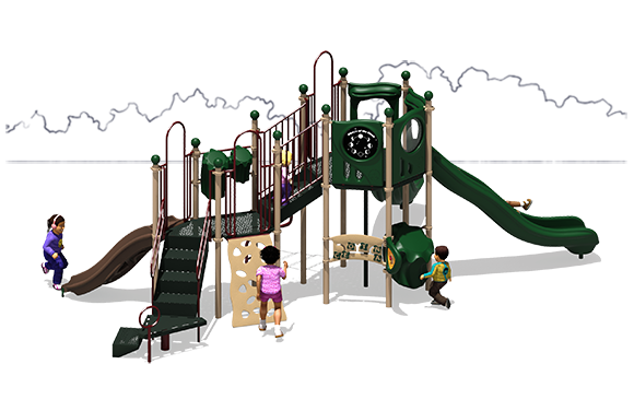 Showtime Play Structure - Natural Color Scheme - Back View