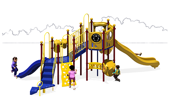 Showtime Play Structure - Primary Color Scheme - Back View