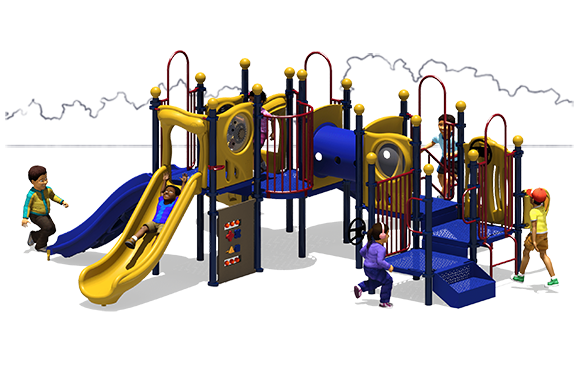 Full House - Primary Color Scheme - Back View- Commercial Playground Equipment
