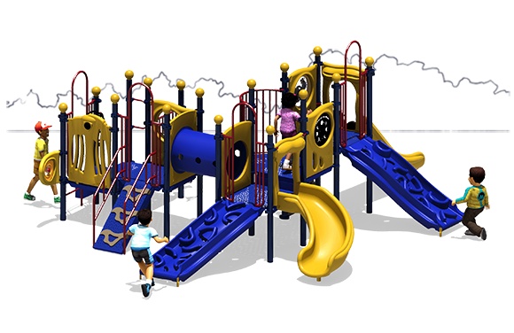 Full House - Primary Color Scheme - Front View - Commercial Playground Equipment