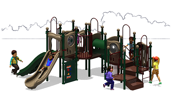 Full House - Natural Color Scheme - Front View - Commercial Playground Equipment