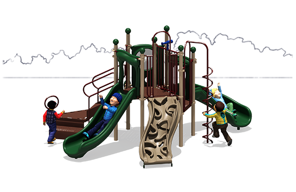 London Tower Commercial Play Structure - Natural - Front