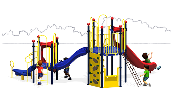 Observation Play - Commercial Playground Equipment - Back View - Primary Colors