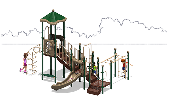 Happy Days Commercial Play Structure - Back View - Natural