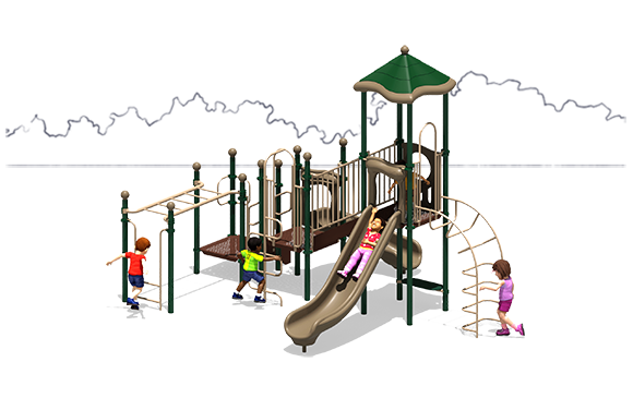 Happy Days Commercial Play Structure - Front View - Natural