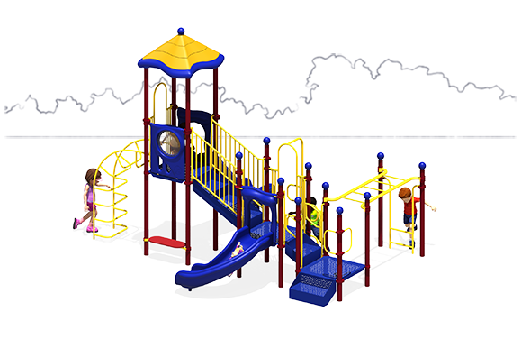 Happy Days Commercial Play Structure - Back View - Primary