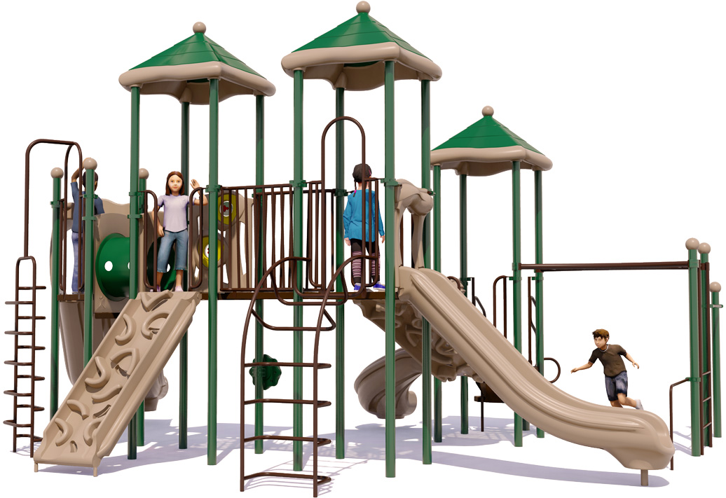 Merry Maker commercial play structure - Natural Color Scheme - Front View