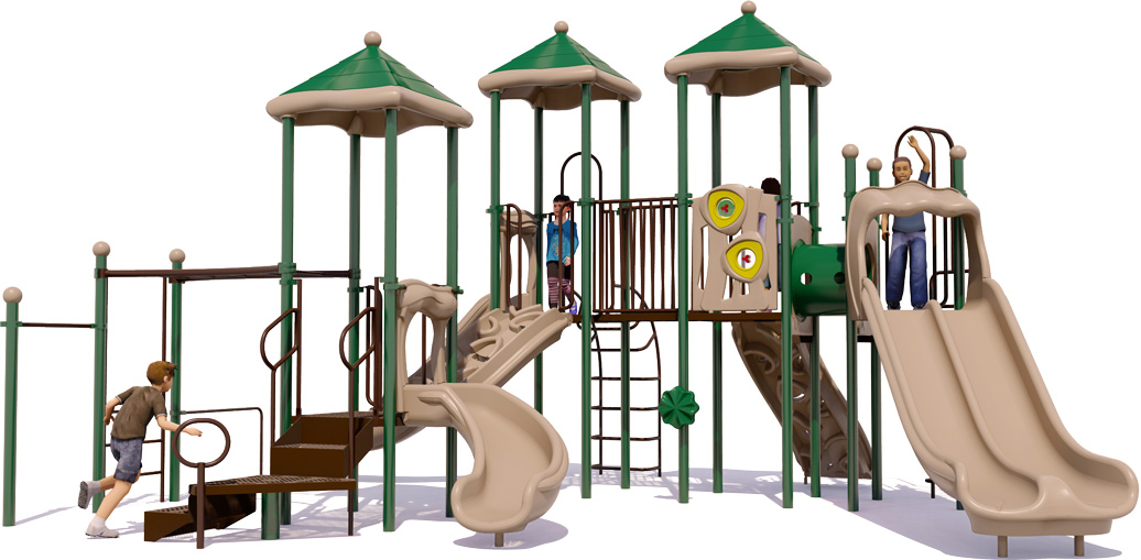 Merry Maker commercial play structure - Natural Color Scheme - Back View
