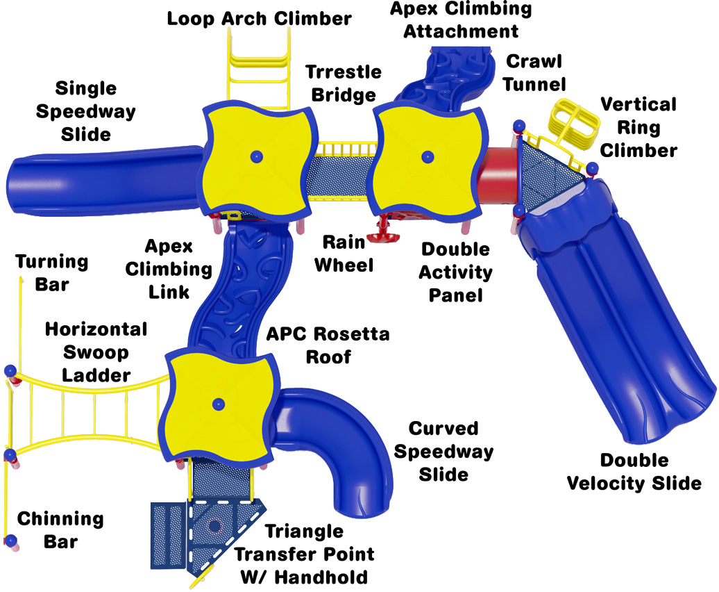 Merry Maker commercial play structure - Primary Color Scheme - Top View