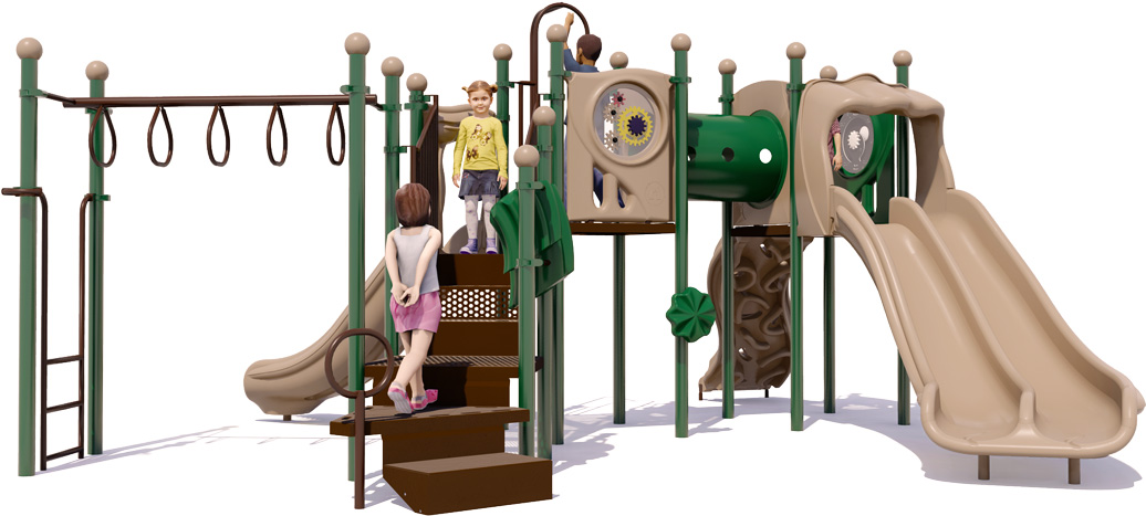 Smash Hit Play Structure - Back View - Natural Color Scheme