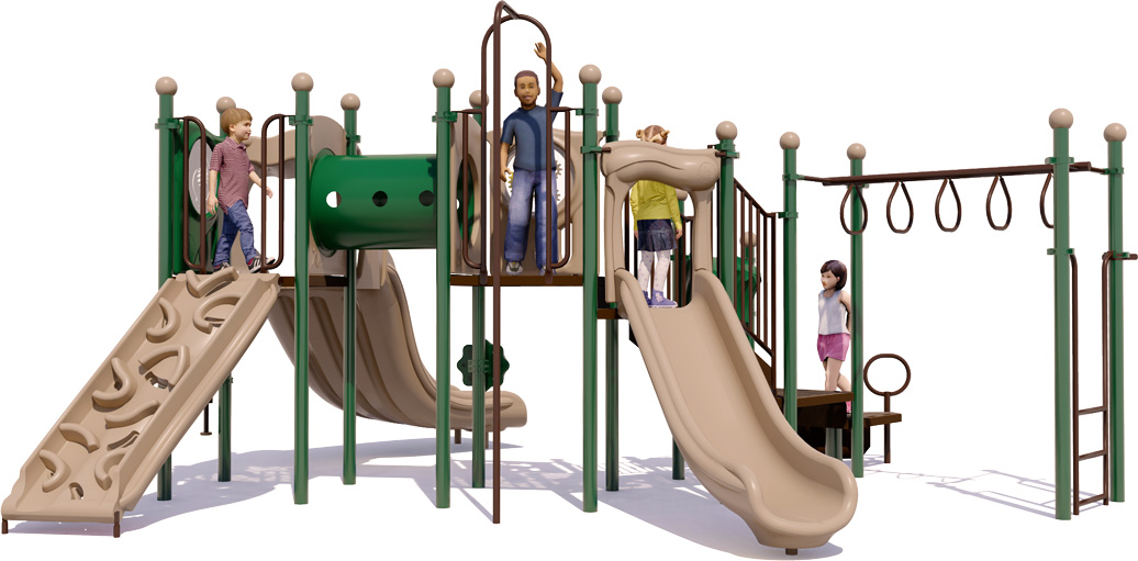 Smash Hit Play Structure - Front View - Natural Color Scheme