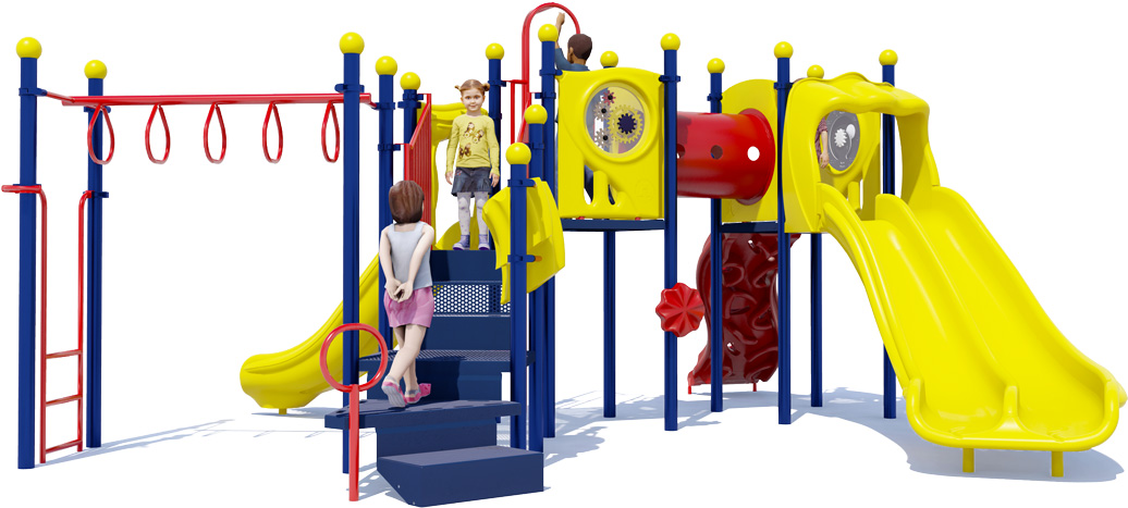 Smash Hit Play Structure - Back View - Primary Color Scheme