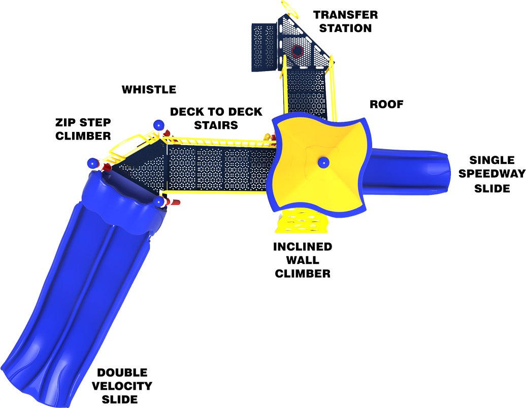 Sky High - Top View - Primary Color Scheme - Commercial Playground Equipment