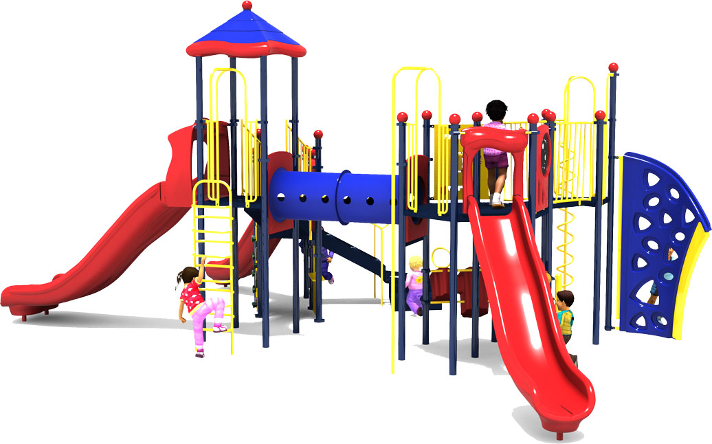 Eagle's Nest Play Structure - Primary Color Scheme - Rear View