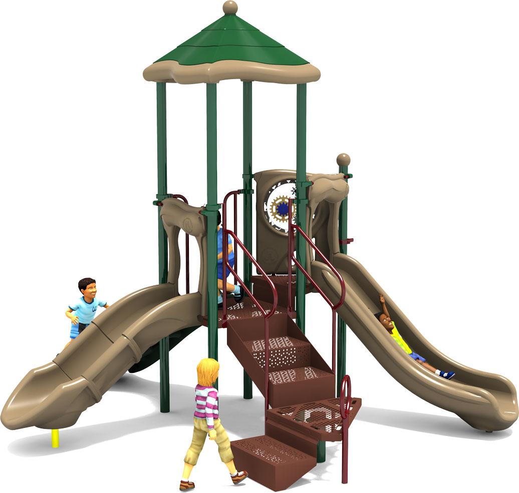 Prim 'n Proper Commercial Play Structure - Natural Color Scheme - Front
