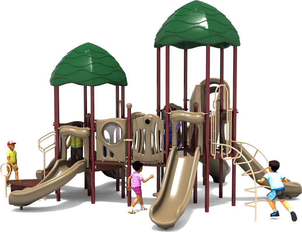 Raise The Roof - Commercial Playground Equipment - Natural Color Scheme - Back View
