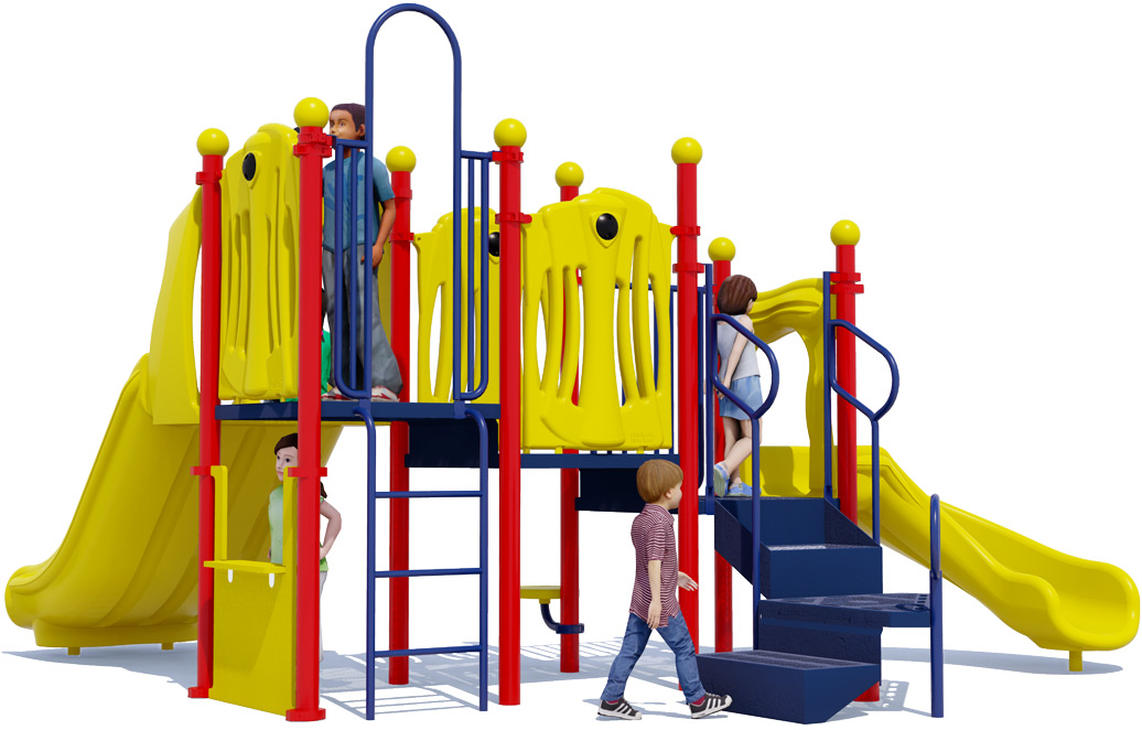 Nick Nack - Commercial Play Structure - Primary Colors - Back View